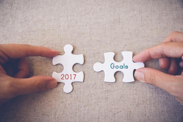 "Hands with puzzle pieces and ""2017 Goals"" words"
